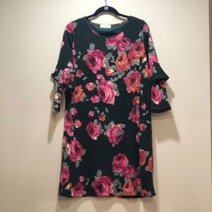 95b44063dac8 Peach Love Hunter Green Floral Dress ...